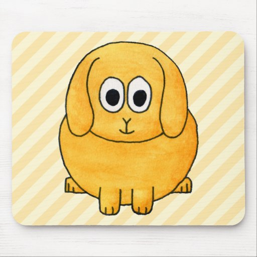 Cute Lop Bunny, with stripe background. Mousepad