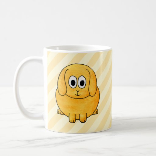 Cute Lop Bunny, with stripe background. Mugs