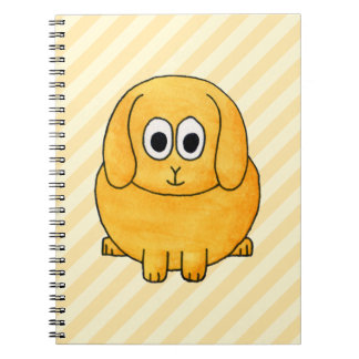 Cute Lop Bunny, with stripe background. Note Book