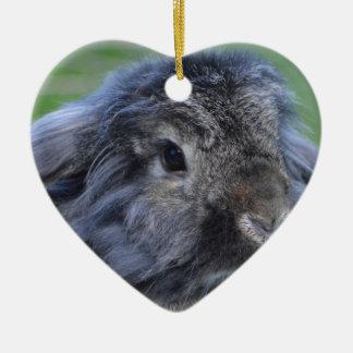 Cute lop eared rabbit ceramic heart decoration