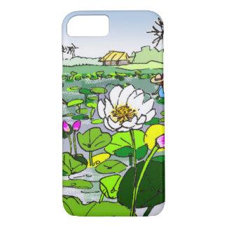 Cute lotus flowers in pond phone case