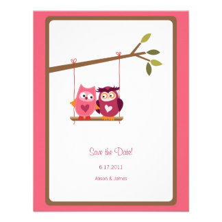 Cute Love Bird Owls Save the Date Annoucement Personalized Announcement