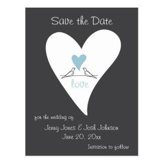 Cute Love Bird Wedding Save the Date Rustic Pretty Postcard