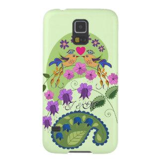 Cute Love Birds and custom Initials Galaxy S5 Case