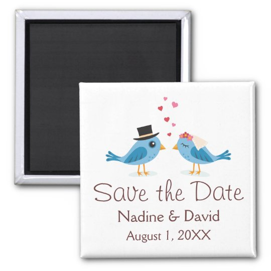 Cute love birds bride and groom save the