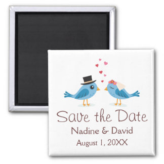 Cute love birds bride and groom save the date square magnet