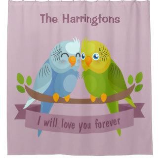 Cute Love Birds custom name shower curtain