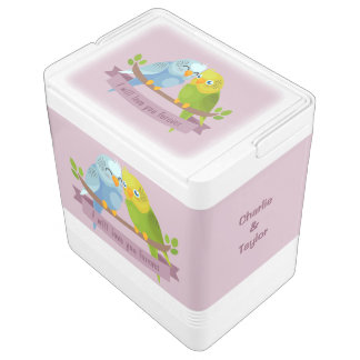 Cute Love Birds custom names cooler Igloo Cooler