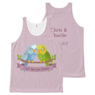 Cute Love Birds custom names & date tank top