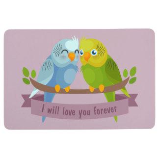 Cute Love Birds floor mat