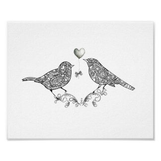 Cute Love Birds in Black and White Poster Print