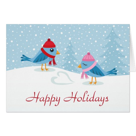 Cute love birds in the snow Happy Holidays card