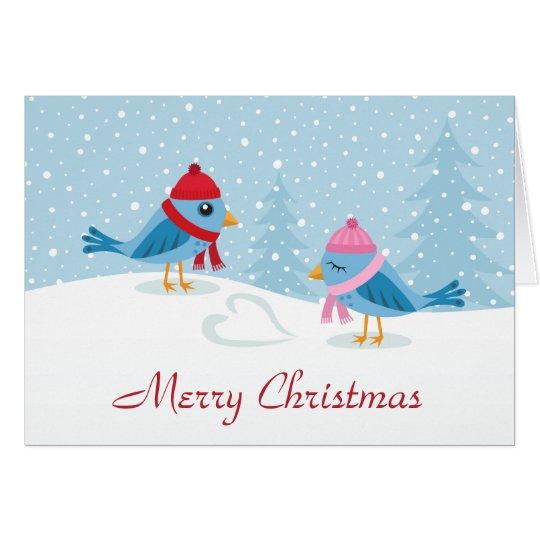 Cute love birds in the snow merry christmas