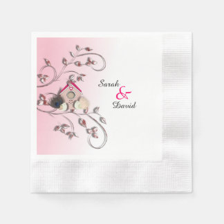 Cute Love Birds in Tree Bird House Paper Serviettes