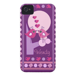 Cute Love Birds iPhone 4 case-mate with Name iPhone 4 Case-Mate Cases