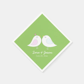 Cute Love Birds on Lime Green Paper Napkins