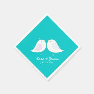 Cute Love Birds on Teal Blue Disposable Serviette