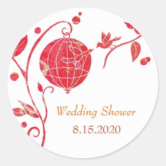 Cute Love Birds Wedding Shower Classic Round Sticker