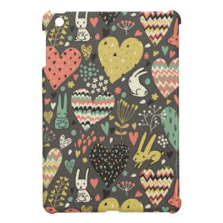 Cute love bunnies pattern with hearts iPad mini cover