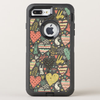 Cute love bunnies pattern with hearts OtterBox defender iPhone 8 plus/7 plus case