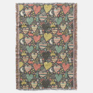 Cute love bunnies pattern with hearts throw blanket