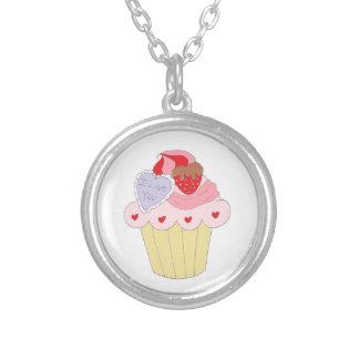 Cute Love Cupcake Round Pendant Necklace