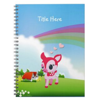 Cute Love Deer Fawn with Rainbow Country Scene Spiral Note Books