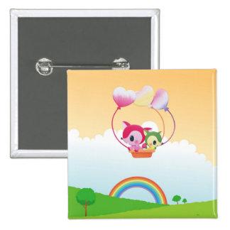 Cute Love Fox Couple & Rainbow Country Scene 15 Cm Square Badge