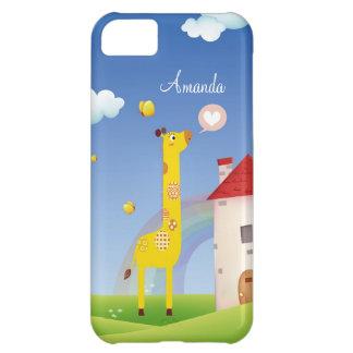 Cute Love Giraffe Butterfly Rainbow Castle & Cloud iPhone 5C Cover