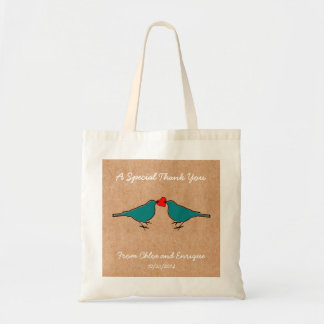 Cute Love Heart And Birdies Custom Wedding Budget Tote Bag