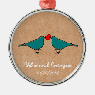 Cute Love Heart And Birdies Custom Wedding Silver-Colored Round Decoration