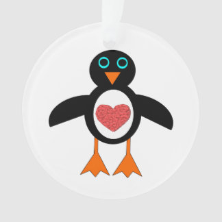 Cute Love Heart Penguin Acrylic Ornament