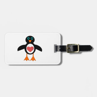 Cute Love Heart Penguin Custom Luggage Tag