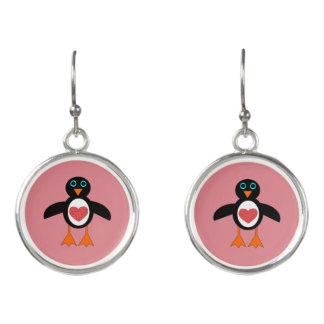 Cute Love Heart Penguin Drop Earrings