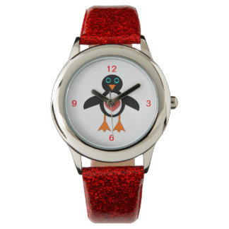 Cute Love Heart Penguin Glitter Watch