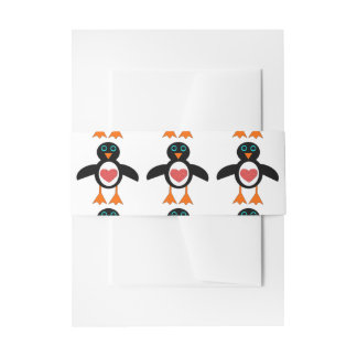 Cute Love Heart Penguin Invitation Belly Band