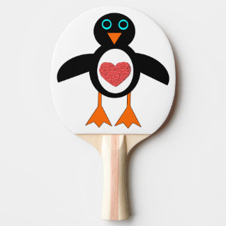Cute Love Heart Penguin Ping Pong Paddle