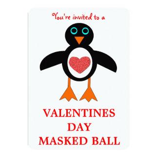 Cute Love Heart Penguin Valentines Day Ball Custom Card