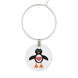 Cute Love Heart Penguin Wine Charm