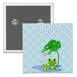 Cute Love Heart Rain & Frogs - Love Just Happens 15 Cm Square Badge