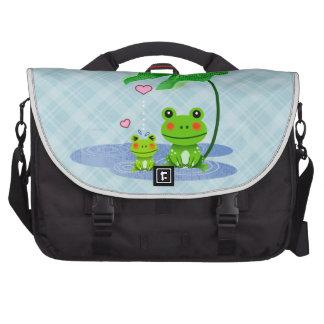 Cute Love Heart Rain & Frogs - Love Just Happens Laptop Commuter Bag