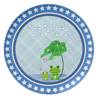 Cute Love Heart Rain Frogs - Love Just Happens Party Plates