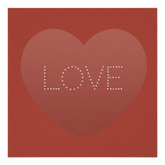 Cute Love Heart Red Textured Poster
