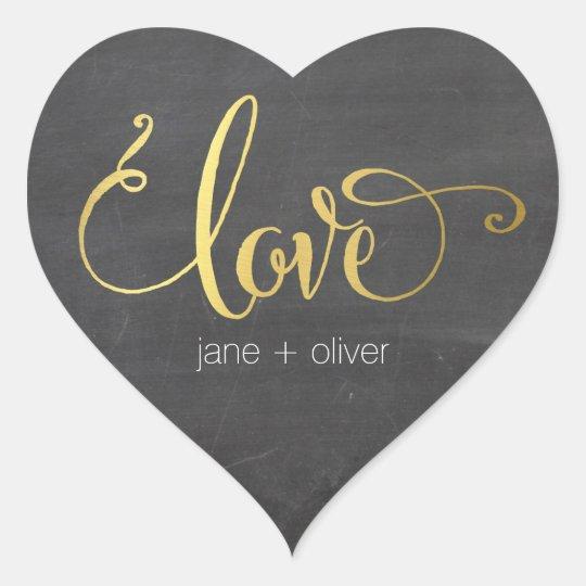 CUTE LOVE HEART SEAL modern gold foil chalkboard