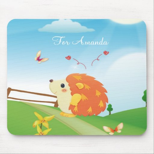 Cute Love Hedgehog with Butterfly Sunny Day Mouse Pads