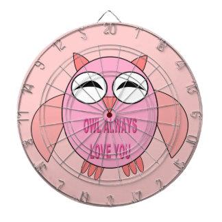 Cute Love Message Owl Dart Board