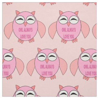 Cute Love Message Owl Patterned Craft Fabric