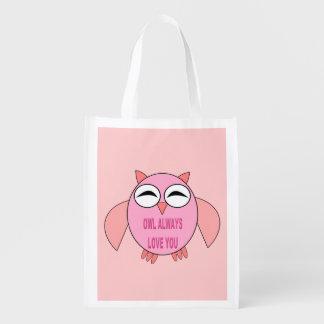 Cute Love Message Owl Reusable Bag