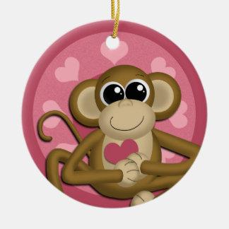Cute Love Monkey Pink ceramic ornament