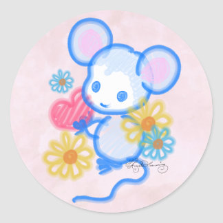 Cute Love Mouse With Heart Round Sticker
